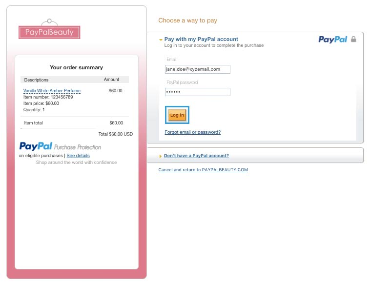 paypal payments standard checkout page